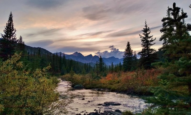 Sunset from Poligne Creek at Avalanche trail camp.