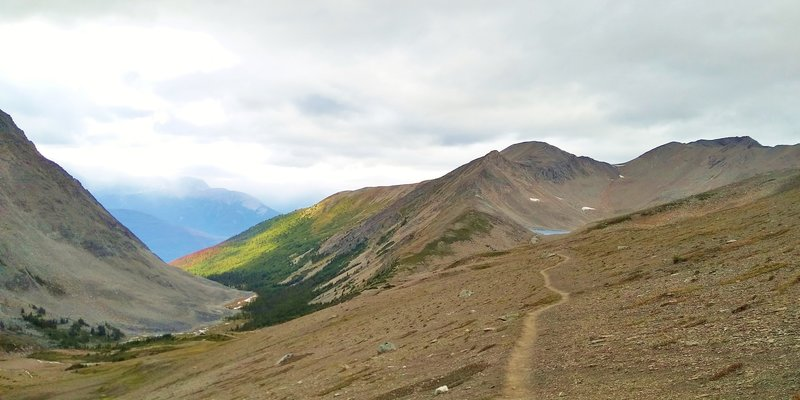 A sunlit creek valley (left) is where Curator trail camp is found. Curator Lake (center right) in the distance is where Skyline Trail is headed as it heads north on the barren, alpine north side of Big Shovel Pass.
