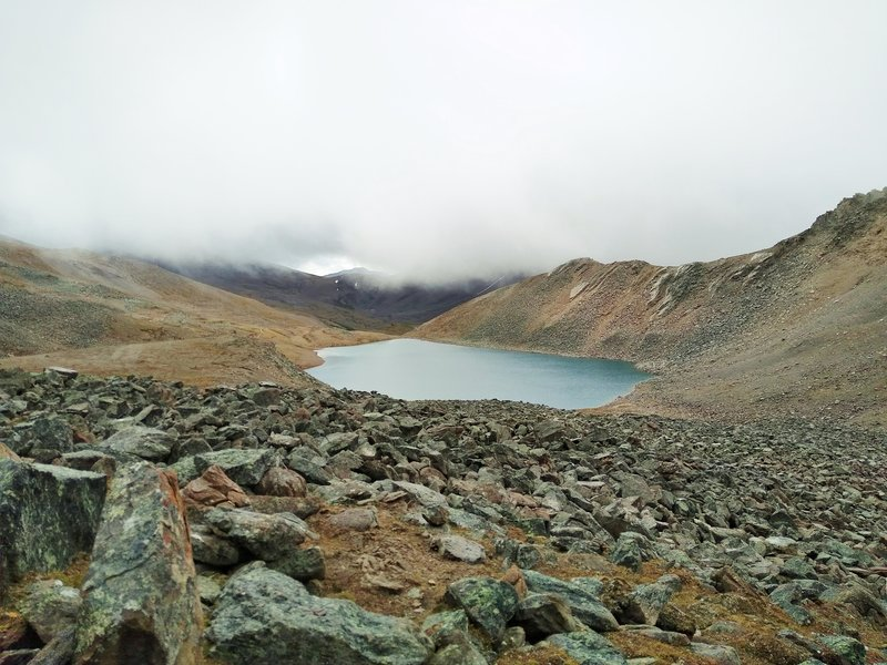 Curator Lake. Seen looking southeast from Skyline Trail on the south side of The Notch.