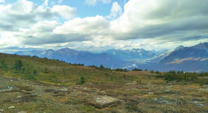The Athabasca River Valley and distant mountains are seen when looking northwest near Jasper/Signal Mountain, from high on Skyline Trail.