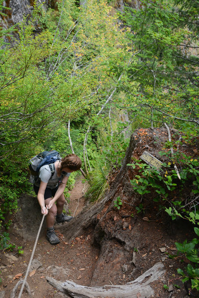 A rope helps on one of the steepest sections