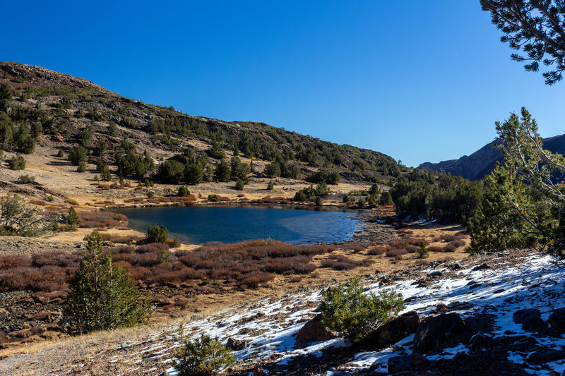 Summit Lake and the first snow of the season