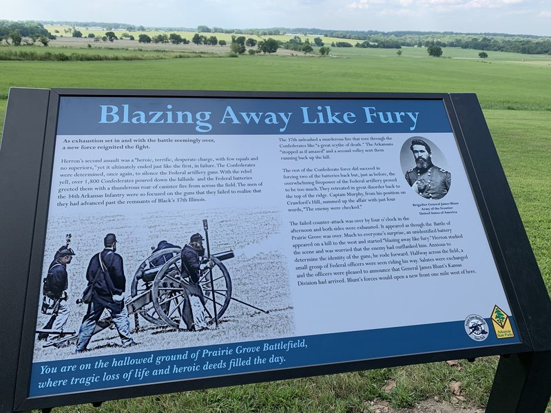 This trail offers great views of the expansive Prairie Grove Battlefield.