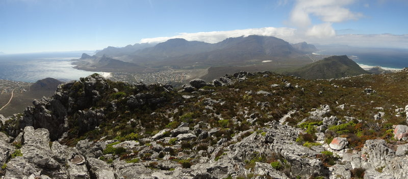 View from the beacon. False bay to the left, Gansbaai to the right.