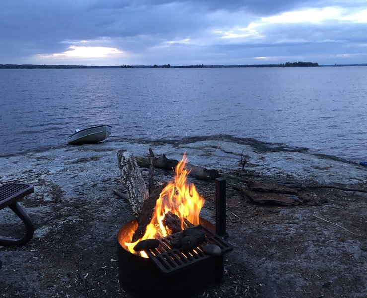 An evening fire on Kabetogama lake.