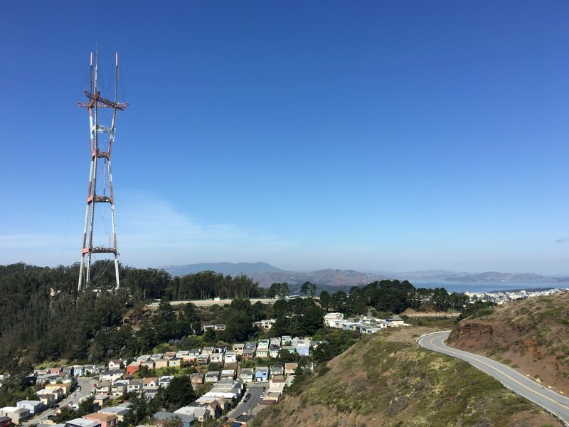 Sutro Tower and Golden Gate Bridge seen from the South Peak of Twin Peaks