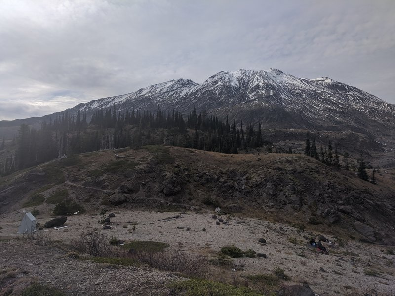 Lunch spot at the Ape Canyon trail junction with Snotel station in view
