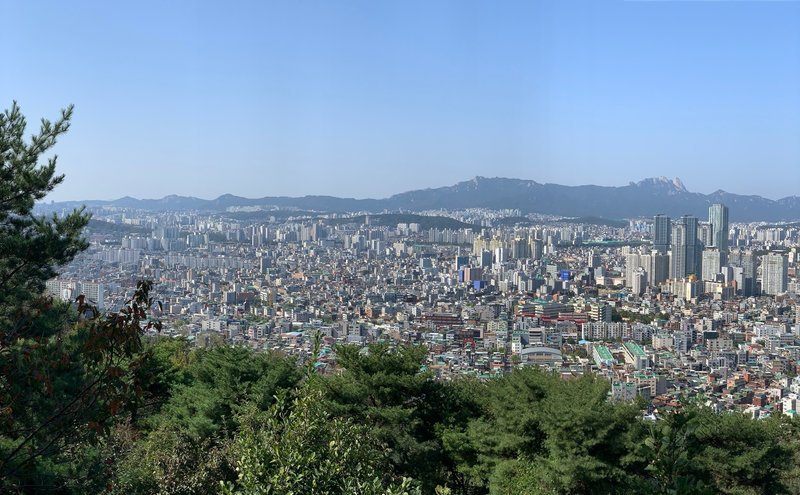 Views of Seoul and Bukhansan National Park from Achasan Park.