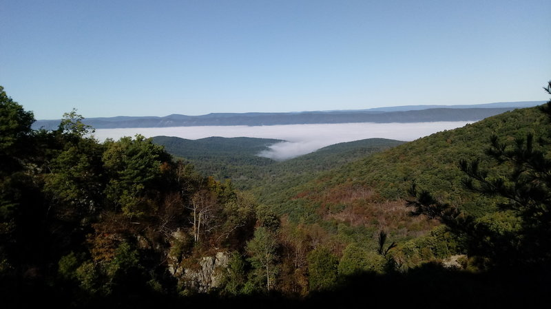 Looking down Overall Run valley towards Massanutten ridges, with clouds blanketing the Shenandoah Valley.