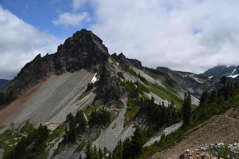 On the unmaintained trail to Plummer Peak, looking toward the Pinnacle Saddle.