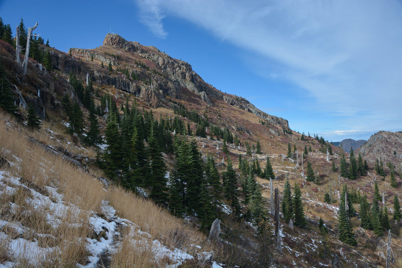 Coldwater Peak from just north of Coldwater Trail and the rock archway