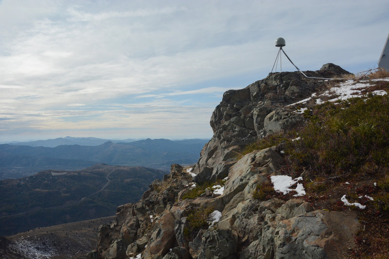 Part of the seismic equipment and the view west to the Coastal Range from the top of Coldwater Peak