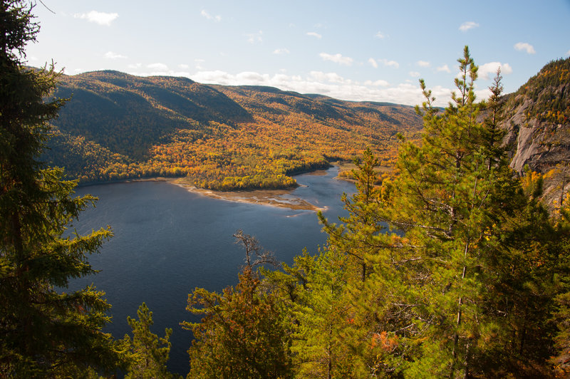 View of Riviére Saguenay with changing fall colors.