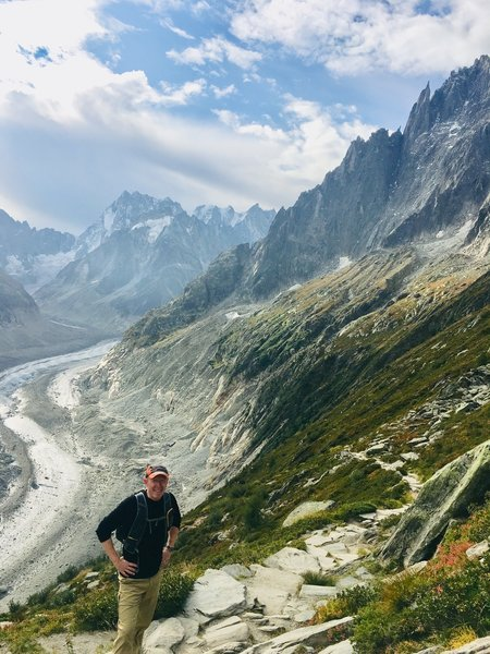Heading up Signal Forbes from Refuge du Montenverse with Mer the Glace glacier in background