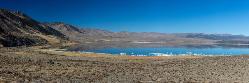 The western portion of Mono Lake with its crystallized salt shore.