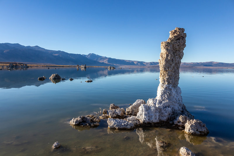 """A salt covered rock """"finger"""" on the southern shore of Mono Lake"""