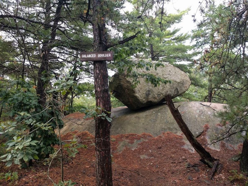 Balanced Boulder - key for navigation - at the intersection of Overlook, Boulder loop and Awesome sauce trails.