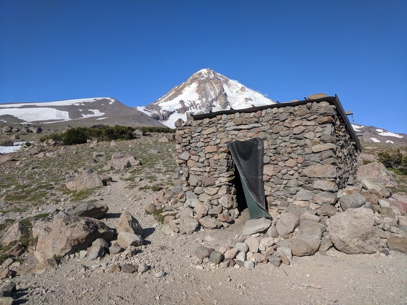 Rock shelter with Hood in background