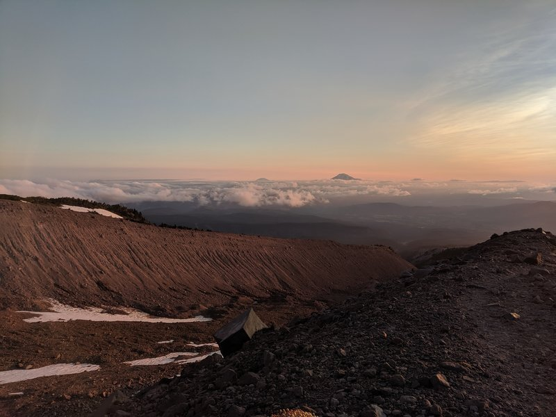 View looking down the moraine towards Mt. Adams and Mt Rainier