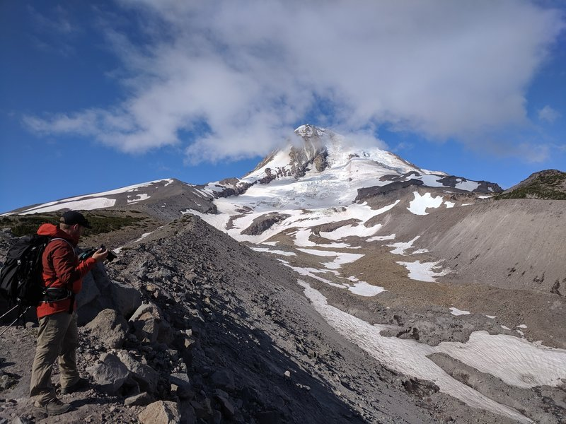 looking up towards hood on the moraine with Eliot Glacier in view