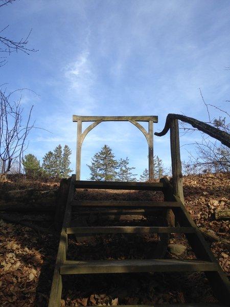 Wooden steps.