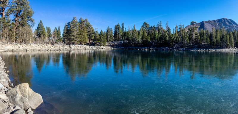 Sherwin Lakes with a thin layer of ice on top.