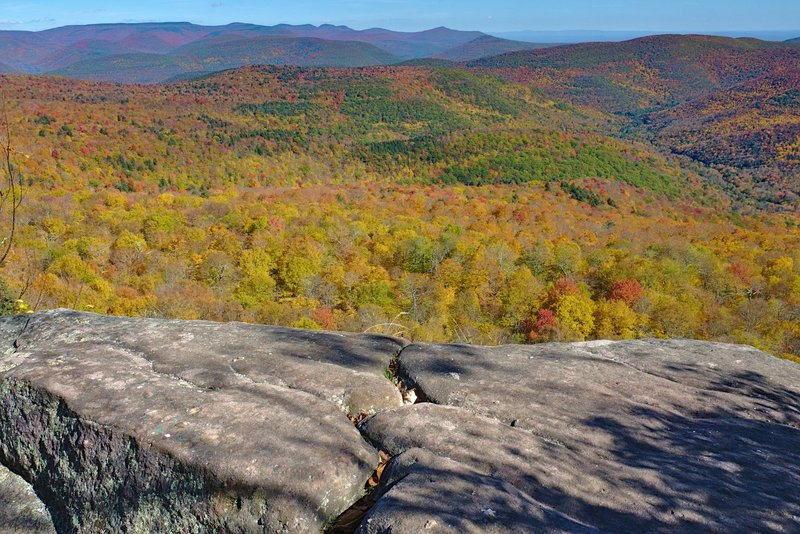 Classic autumn view from the Giant Ledge hike in the Catskills, NY
