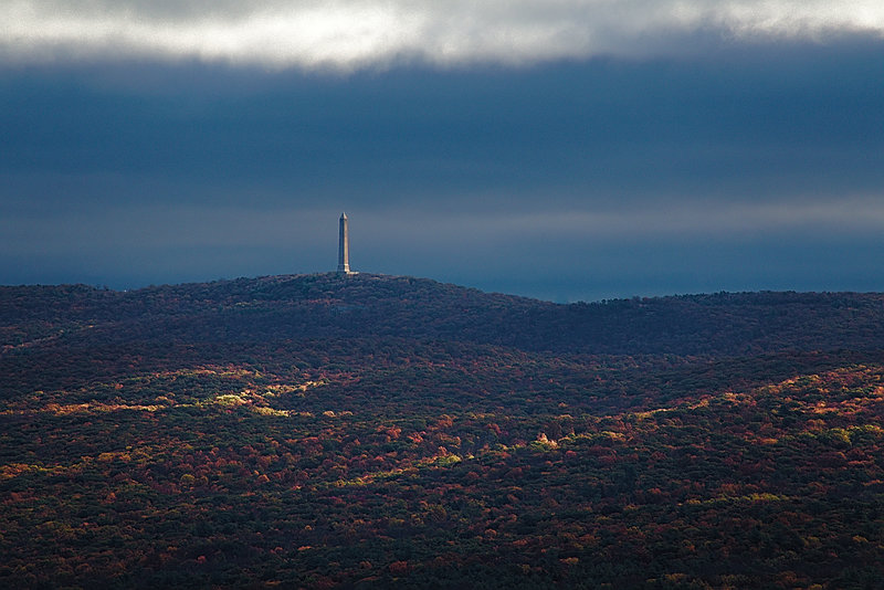High Point Monument standing proud as scene from Cliff Park, PA