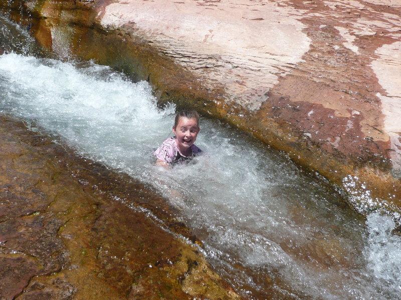 Sliding at Slide Rock State Park.
