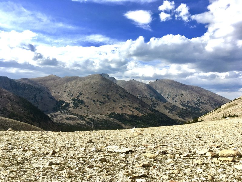 View of the South side of Wheeler Peak as seen from the saddle underneath Pyramid Peak and above Johnson Lake