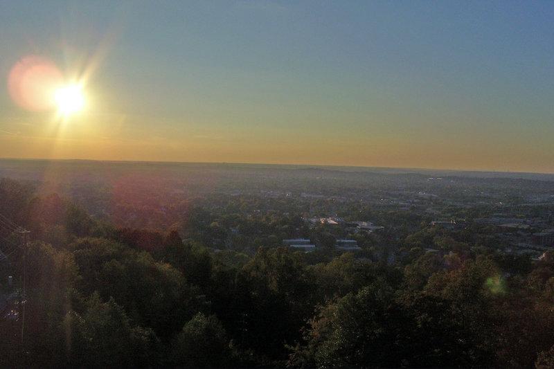 An evening view of Birmingham's west side from Vulcan