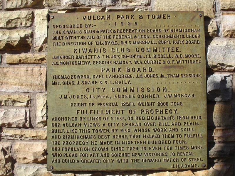 Vulcan Park plaque