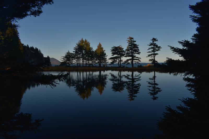 Lake foreground, ocean background.