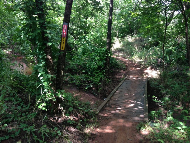 One of the popular sections of mountain bike trail in Bluff Creek Park