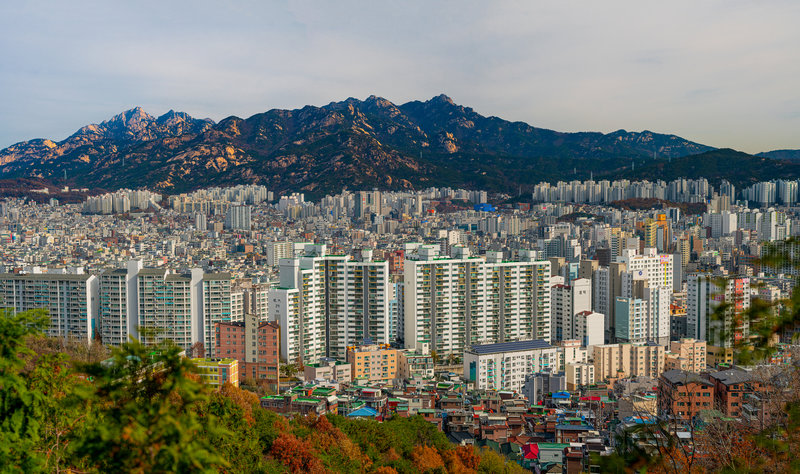View of Bukhansan from Seoul Trail Section 7