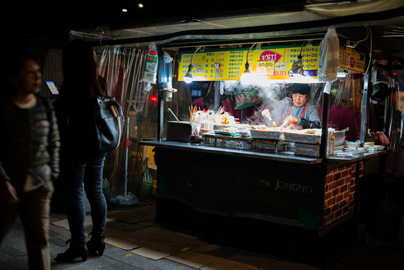 You can pack light for a hike through Seoul, no shortage of street food available.