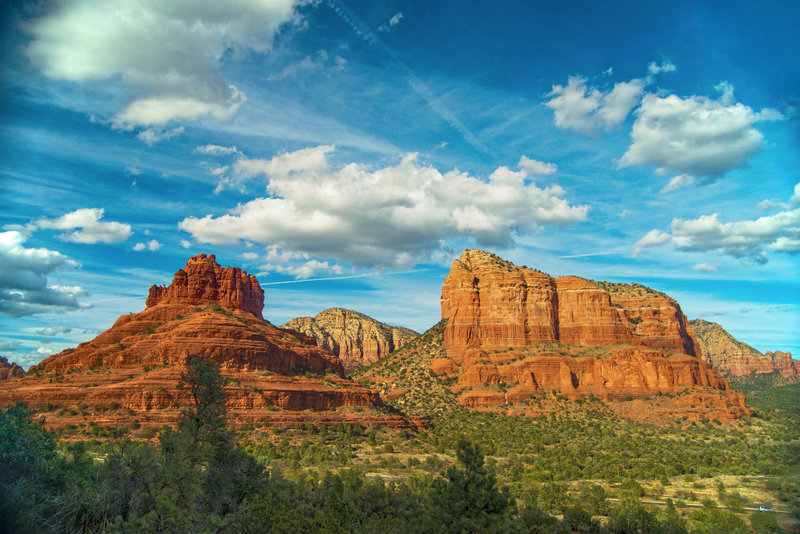 Shot from the adjacent Made In The Shade Trail off of Slim Shady Trail, which is just slightly higher and gives a better view of Bell Rock & Courthouse Butte
