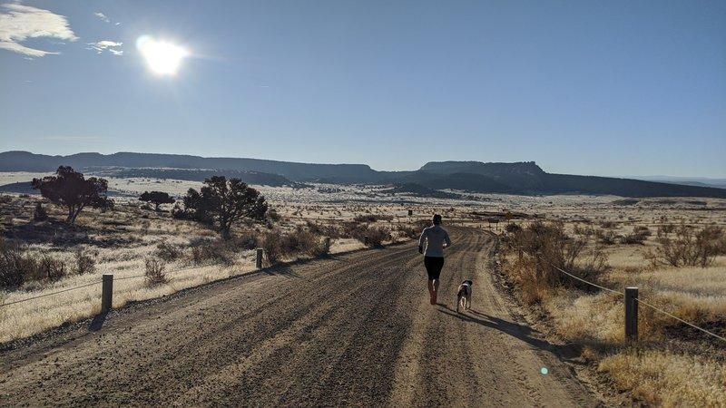 Running the road toward the start of Joufla's Loop