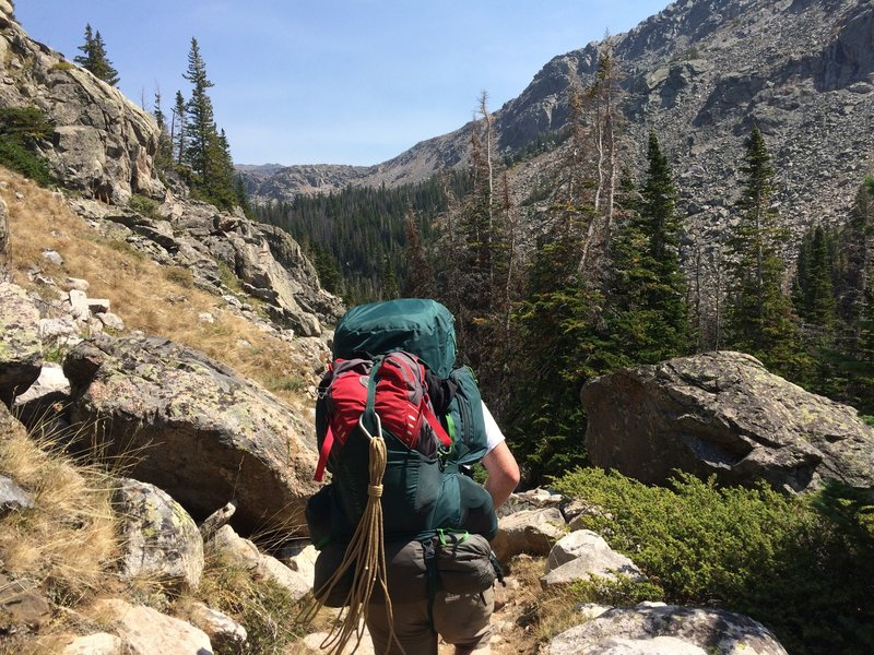 August 2016 - Heading east on the Lake Solitude Trail. On our to the base of Cloud Peak.