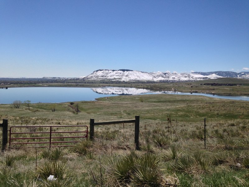 View of North Table Mountain over Blunn Reservoir