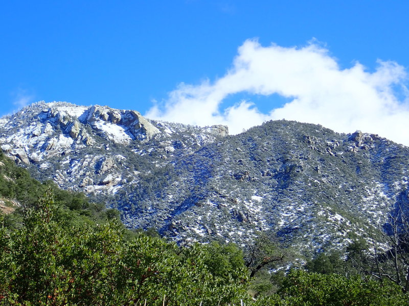 Approaching the snow line on the Romero Canyon #8 trail