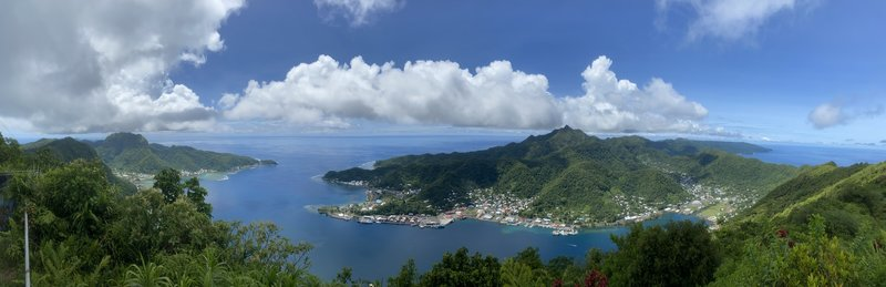 Panorama from the Summit of Mount Alava. You can see a majority of the Island and Pago Pago Harbor from here.