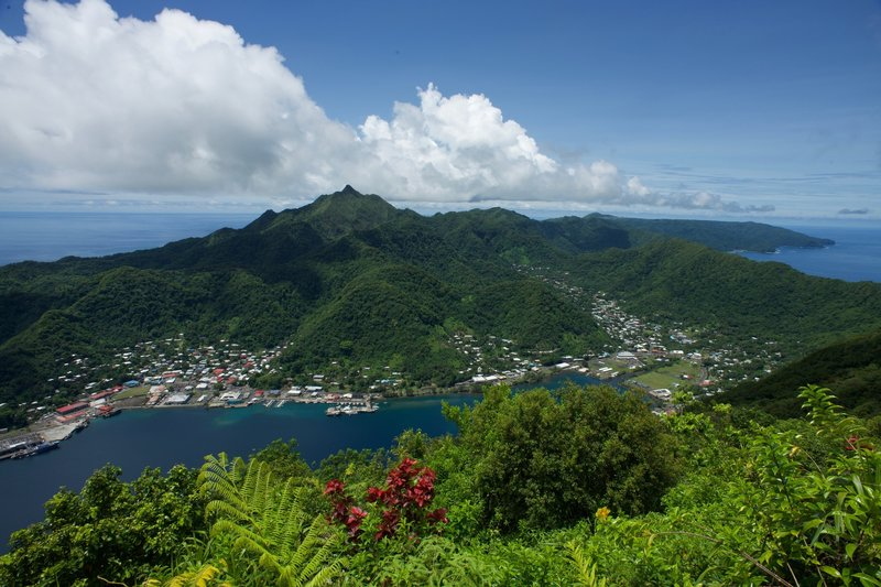 Looking across the bay, you can see Matafao Peak towering over Pago Pago.