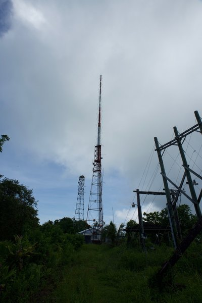 TV and telecommunication towers sit atop Mount Alava, as well as the remains of the old tram station.