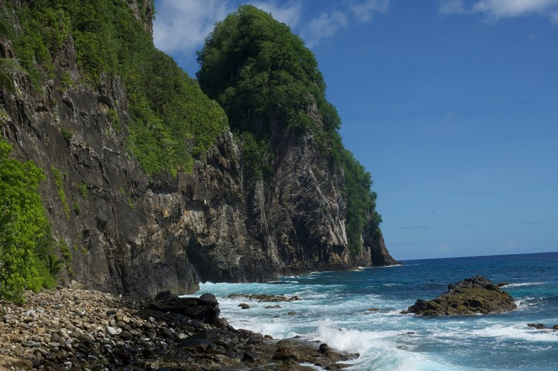 When the trail ends on the beach, you get great views of Pola Island and the waves crashing into the rocky shoreline.