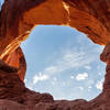 Looking through one of the arches of Double Arch.