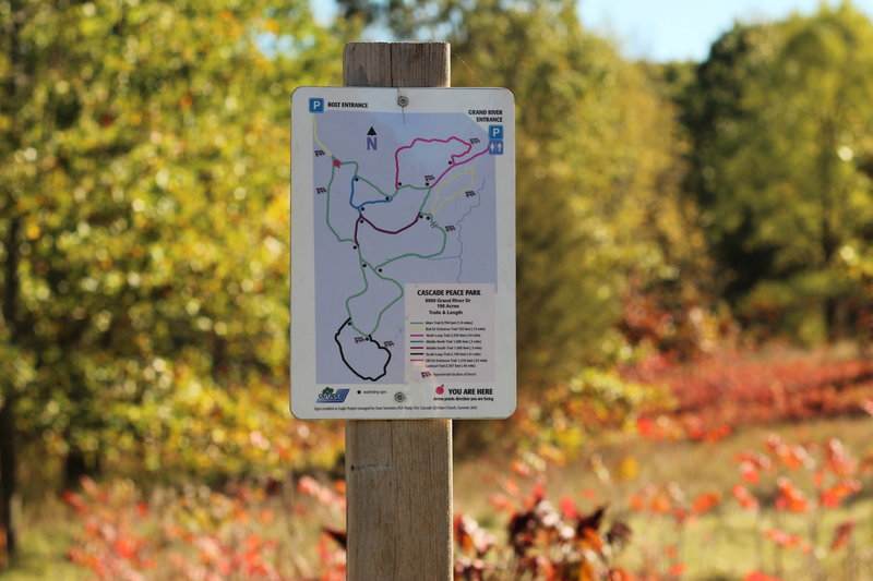 "One of many posted trail maps. This one at the Bolt Entrance along the Main Trail."" Photo courtesy of Cascade Charter Township."