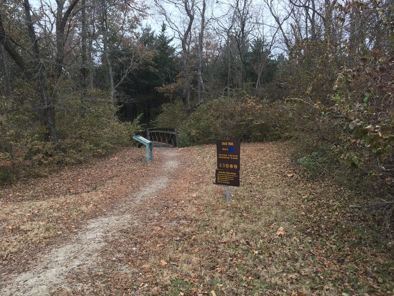 The trailhead and the initial bridge leading to the first hill.