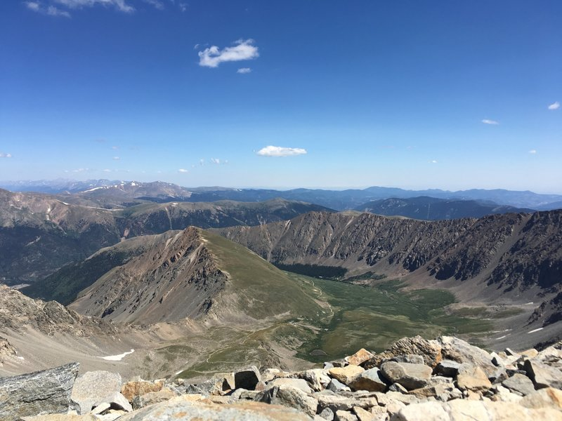 Looking back down to Kelso Mountain, a fun 13er to warm up on!