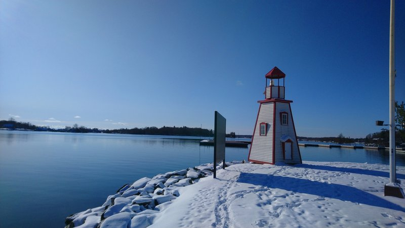 Lighthouse at the entrance to the Gananoque marina on the St. Lawrence River.